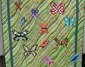 Art Quilt Butterflies Bargello Design Patchwork from Upcycled Clothing Eco Friendly