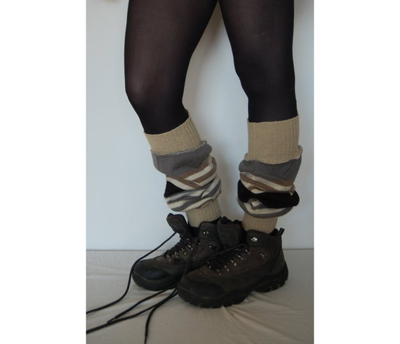Leg Warmers Made from Recycled Clothing White Off Beige Black Grey Winter Fashion Upcycled Clothing