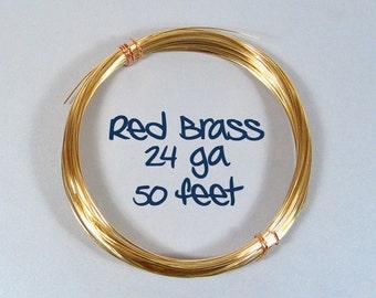 24ga 50ft DS Red Brass Wire