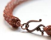 Pumpkin Orange Crochet Necklace Cooper Colored Wire