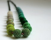 Long Green Beaded Beads Necklace