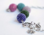 Beaded Beads Necklace Five Spring Colors. Purple, Hot Pink, Turquoise, Pine Green and Mauve