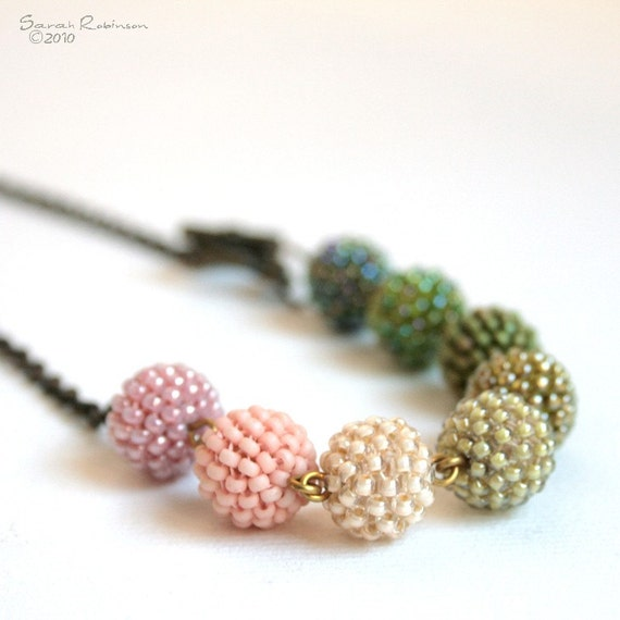 SALE Olive Green Necklace to Mauve Pink Beaded Beads