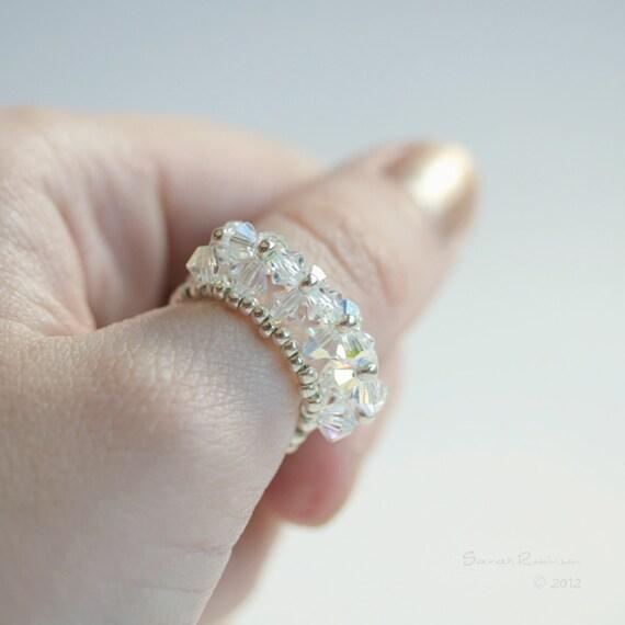 White Swarovski Ring Crystal AB. Line Handbeaded