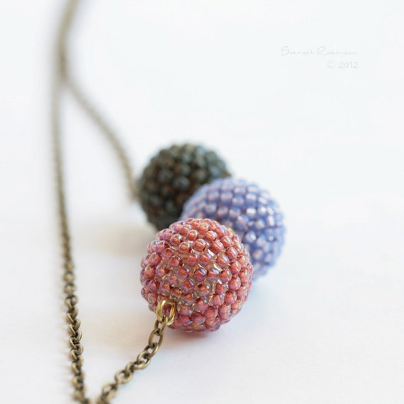 Pale Spring Colors Necklace Beaded Beads