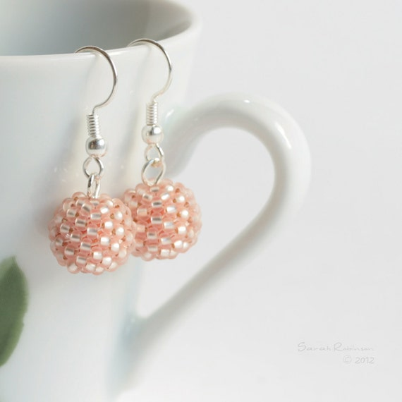 Sparkle Blush Beaded Bead Earrings