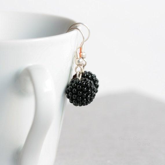Black Beaded Beads Earrings Dangle