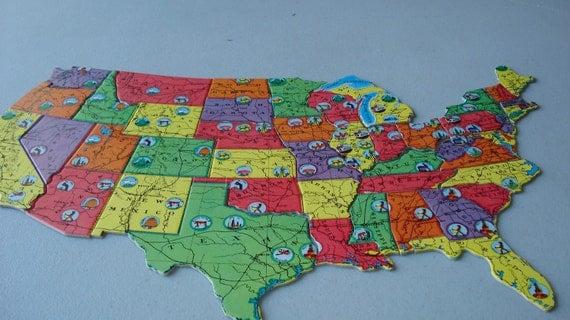 Bradley (IL) United States  city photos : Vintage Map, Jigsaw Puzzle, United States, 1958, Milton Bradley