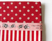 Red Gingham Fabric Tape with Black Flowers on Etsy