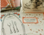 Panel Cotton Linen Fabric - Vintage picnic 55 x 33.5 inches / 140 x 85 cm