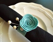 Napkin Rings Set of 4 - Flower with Branch/Color of Your Choice