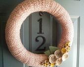 Yarn Wreath Felt Handmade Door Decoration - Tan and Red 16in
