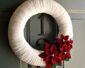 Yarn Wreath Felt Handmade Holiday Decoration - Poinsettia 12in