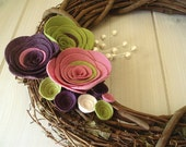 Grapevine Wreath Felt Handmade Door Decoration 12in