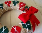 Yarn Wreath Felt Handmade Holiday Door Decoration - Classic Christmas 12in