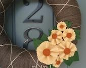 Yarn Wreath Felt Handmade Door Decoration -  Sunflower 12in