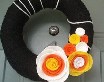 Yarn Wreath Felt Holiday Door Decoration - Halloween Candy Corn 8in