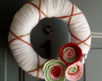 Yarn Wreath Felt Door Decoration - Bright Day 8in
