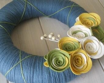 Yarn Wreath Felt Handmade Door Decoration - Cornflower 12in