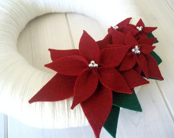 Yarn Wreath Felt Handmade Holiday Decoration - Poinsettia 12in