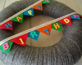 Happy Birthday Bunting Banner Handmade Front Door Yarn Wreath - 12in