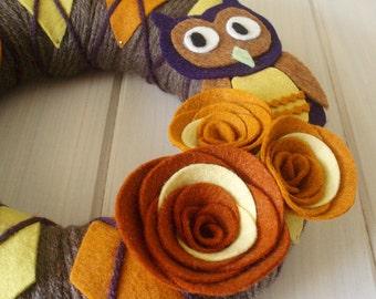 Yarn Wreath Felt Handmade Door Decoration - Argyle Owl 8in