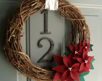 Grapevine Wreath Felt Handmade Holiday Decoration - Poinsettia 12in
