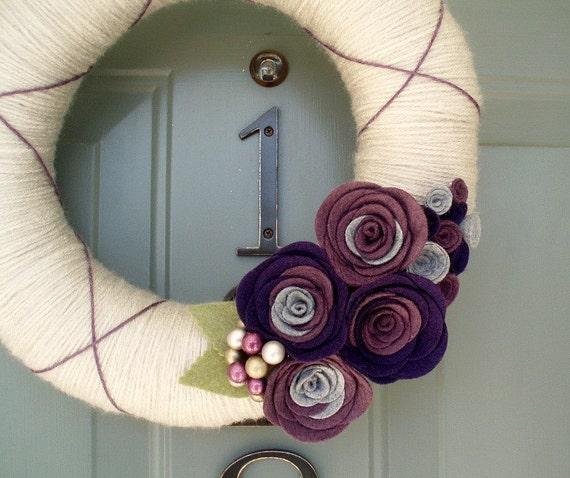 Yarn Wreath Felt Handmade Door Decoration - Plumtastic 12in