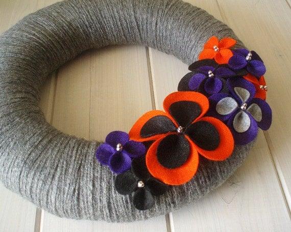 Yarn Wreath Felt Handmade Door Decoration - Halloween Petals 12in