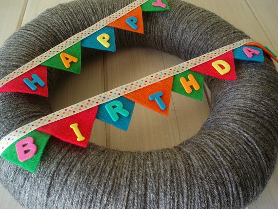 Happy Birthday Bunting Banner Handmade Front Door Yarn Wreath - 12in