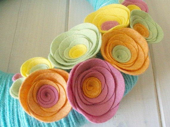 Yarn Wreath Felt Handmade Door Decoration - Sherbert 12in