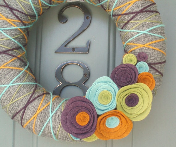 Yarn Wreath Felt Handmade Door Decoration - Inspired 12in