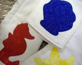 Set of 3 BEACH Birdseye Burp Cloths