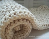 Super Chunky  and Warm Wool Blend Crocheted Baby Blanket in WARM VANILLA