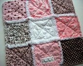 Rag Quilt Lovey/Security Blanket Pink and Brown