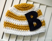 Infant / Toddler Hat in Mustard Yellow and White with Initial - Many Sizes Available