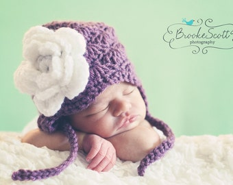 Baby Girl's Hat with Earflaps  - Many Sizes Available