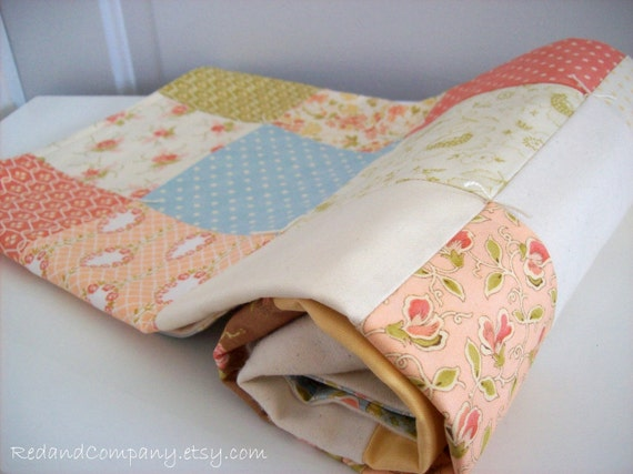 Reserved for Joelle - Buttercup Patchwork and Organic Flannel Baby Blanket