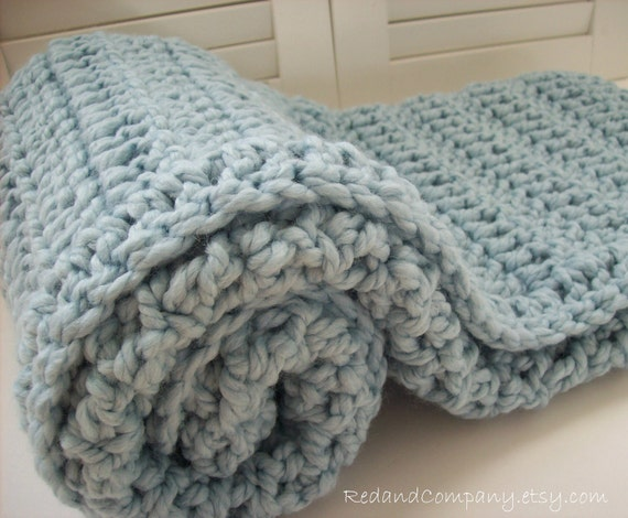 Super Chunky  and Warm Wool Blend Crocheted Baby Blanket in GLACIER BLUE