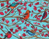 1/2 yard - Wing song in Aqua, Garden wall collection by Laura Gunn