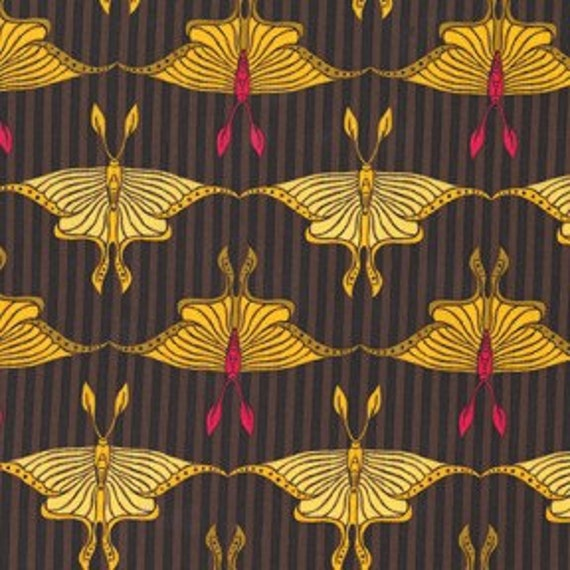 SALE - 1 yard, Luna Moth in Mustard, Flora and Fauna collection by Patty Young
