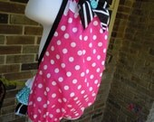 Pink, black & teal romper, sun suit with ruffle bottom and halter top