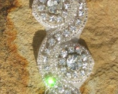 Beautiful Hand Beaded Rhinestone Trim Scalloped Remnants ~ all first quality  Fast shipping from Houston, TX