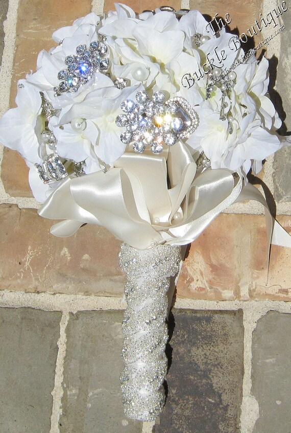 Beaded with Rhinestones Bridal Bouquet Wrap