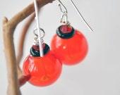 Bright Red Blown Glass Earrings, Light Weight Hollow Dangle Earrings