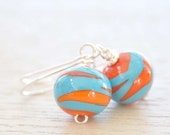 Orange and Turquoise Twist Lampwork Glass Earrings