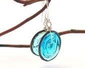 Aqua Blue Glass Disc Earrings