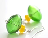 Spring Green Glass Earrings  - Mother's Day unique jewelry