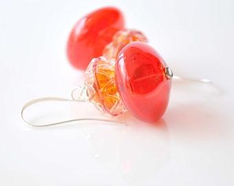 Frillly Red Glass Dangle Earrings, Lampwork Jewelry, Glass Earrings