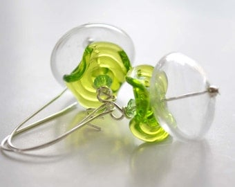 Clear Green Earrings, Light Weight Earrings, Lampwork Earrings, Hollow Earrings, Ruffled Glass Earrings